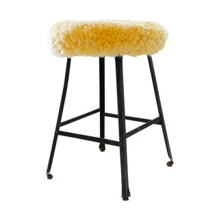 Alpaca Fur Upholstered Industrial Stool