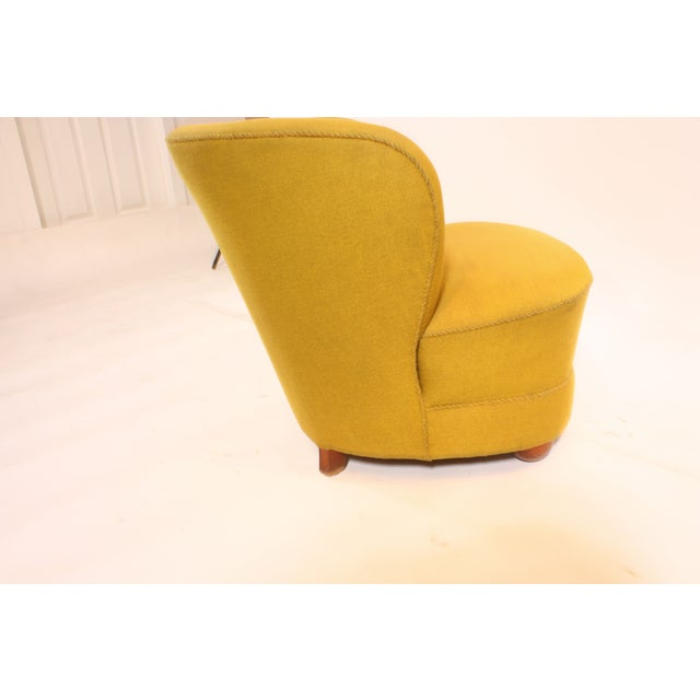 1940s Chartreuse Slipper Chair - Image 4 of 7