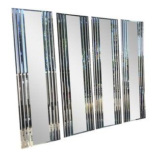 Mid Century 4-panel Mirror Wall Screeen Room Divider