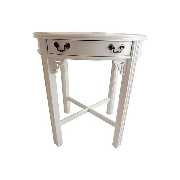 White Lacquer Side Table - Image 1 of 4