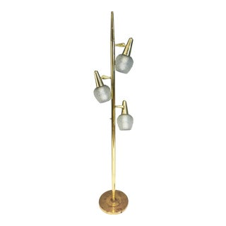 Mid Century Modern Gold Pole Floor Lamp with Glass Shades