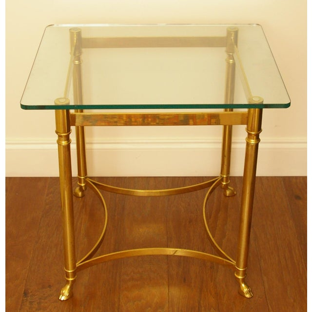 Brass & Glass Hoof Foot Side Table - Image 2 of 5