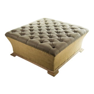 Webster Burlap Linen & Wood Large Tufted Ottoman