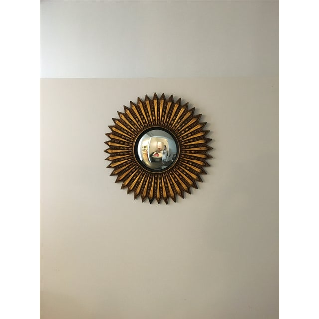 Mid Century Modern Argentinian Gilded Wood Starburst Convex Wall Mirror - Image 2 of 7
