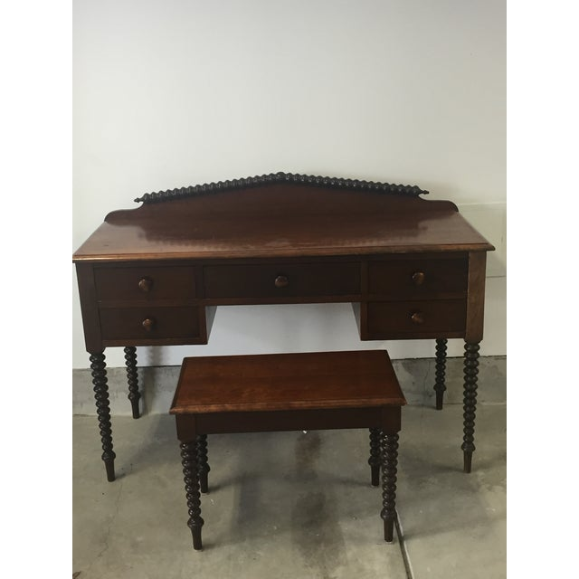 Antique Spindle Secretary With Spindle Bench And Mirror Chairish