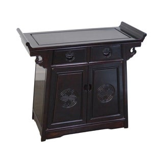 Chinese Rosewood Pagoda Top Cabinet Console