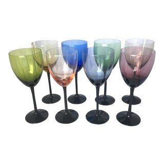 Mid Century Colored Crystal Glasses - Set of 8