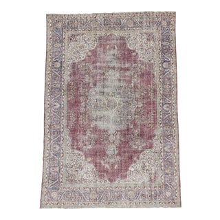 Vintage Turkish Oushak Burgundy Wool Rug - 8′6″ × 12′4