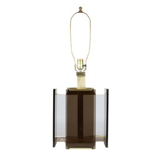 Paul Hanson Brass and Smoked Glass Table Lamp