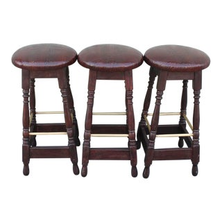 Mid 20th Century Original Surface Bar Stools with Leather Seats