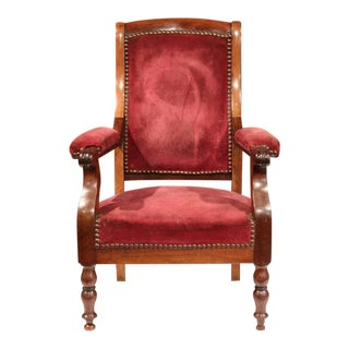 Mid-19th Century French Louis Philippe Walnut & Red Velvet Child Armchair