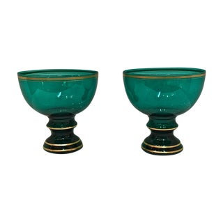 Mid Century Emerald Glass Footed Bowls - Pair
