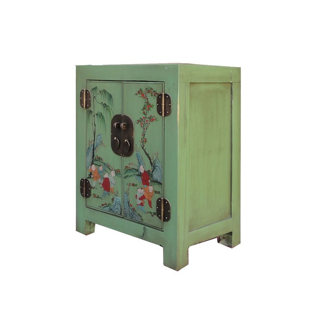 Image of Petite Pastel Green Butterfly Top Nightstand