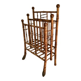 Antique Victorian Burnt Bamboo Magazine Rack