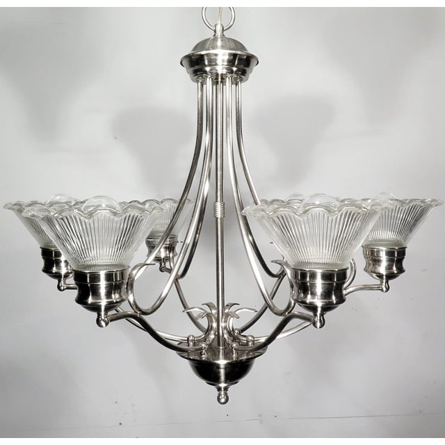 Stainless Steel & Halophane Chandelier - Image 5 of 7