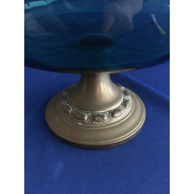 Blue Glass Compote with Dragon Handles - Image 9 of 10