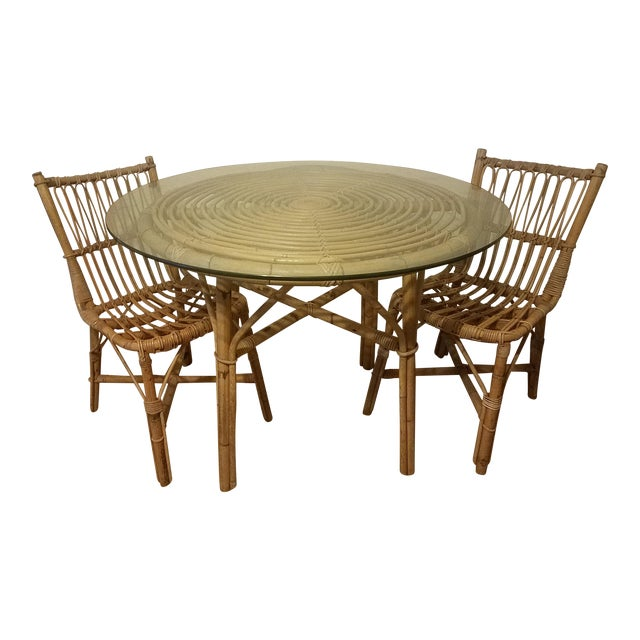 Vintage Franco Albini Rattan Table & Chairs - Image 1 of 11