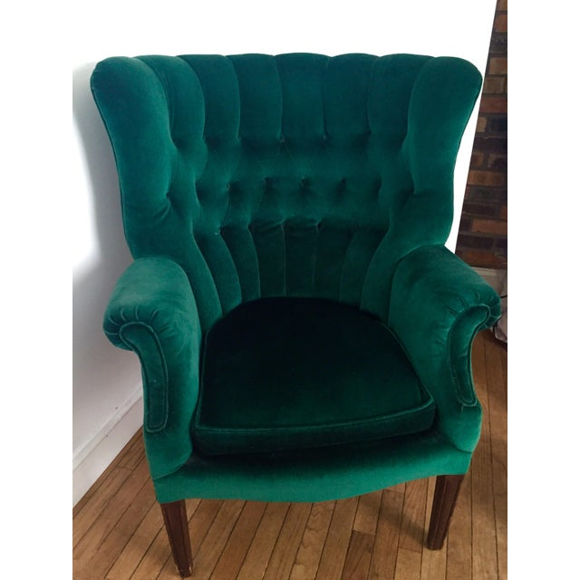Vintage Emerald Green Armchair - Image 3 of 4