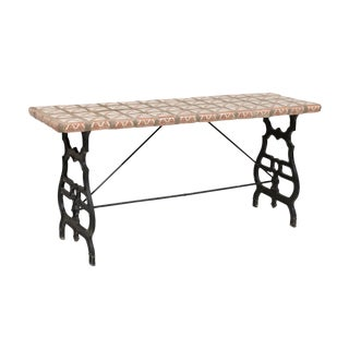 A European Console Table With Iron Base and Spanish Terracotta Tiles