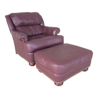 Pennsylvania House Leather Lounge Chair & Ottoman