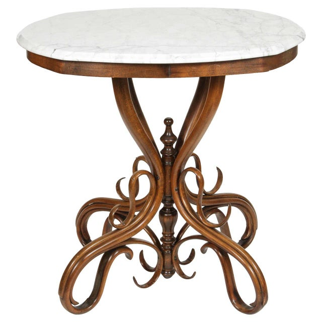 Thonet Bentwood & Marble Side Table - Image 1 of 6