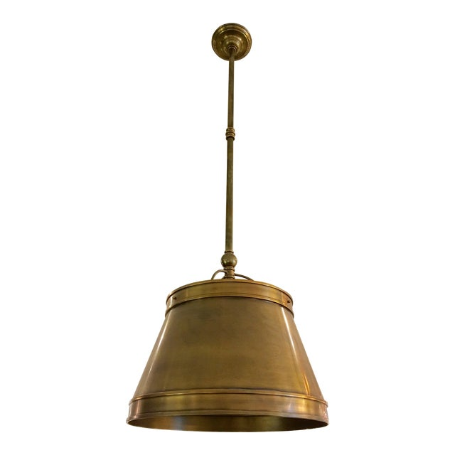 Image of Visual Comfort Brass Hanging Shade Pendant-New