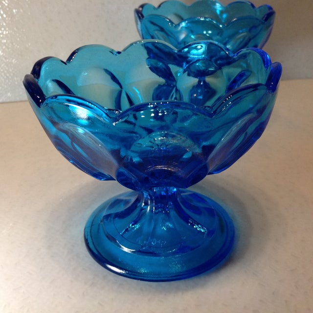Vintage Blue Glass Pedestal Bowls - A Pair - Image 8 of 10