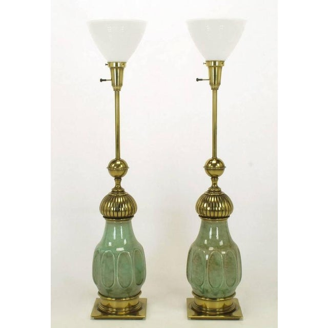 Image of Pair of Stiffel Sea Foam Green Crackle Glaze and Brass Moorish Style Table Lamps