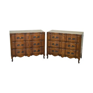 French Louis XV Style Vintage Pair Fruitwood Commodes Chests from Hathaways