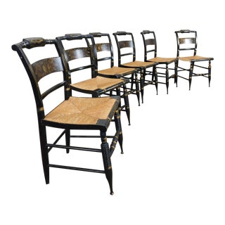 C1970s Hitchcock Harvest Pattern Slat Back Dining Chairs - Set of 6