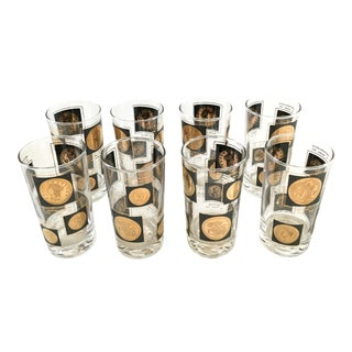 Libbey Glass Co. Old World Gold Coins Barware Glasses - Set of 8