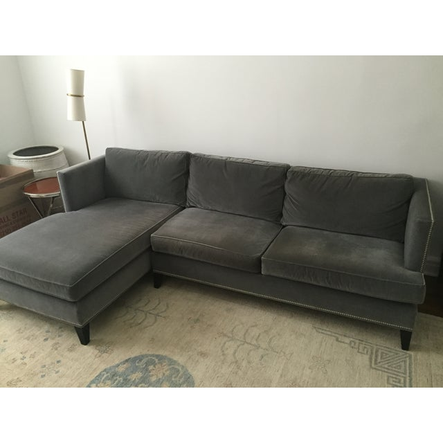 Williams Sonoma Home Grey Velvet Sectional - Image 3 of 3
