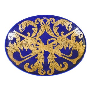 Piero Fornasetti Oval Dish with Gilt Pipe and Tobacco Motif