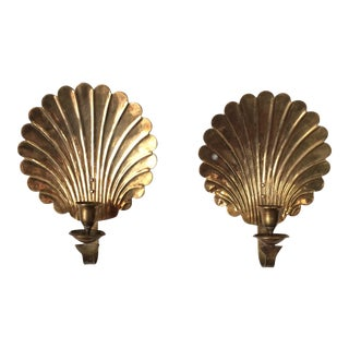 Solid Brass Scallop Sconces - A Pair