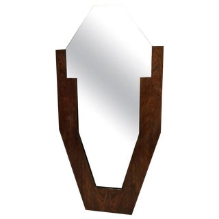 French Art Deco Walnut Standing Mirror