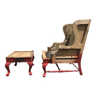 19th C. Walnut Wingback Armchair & Ottoman Frame - A Pair