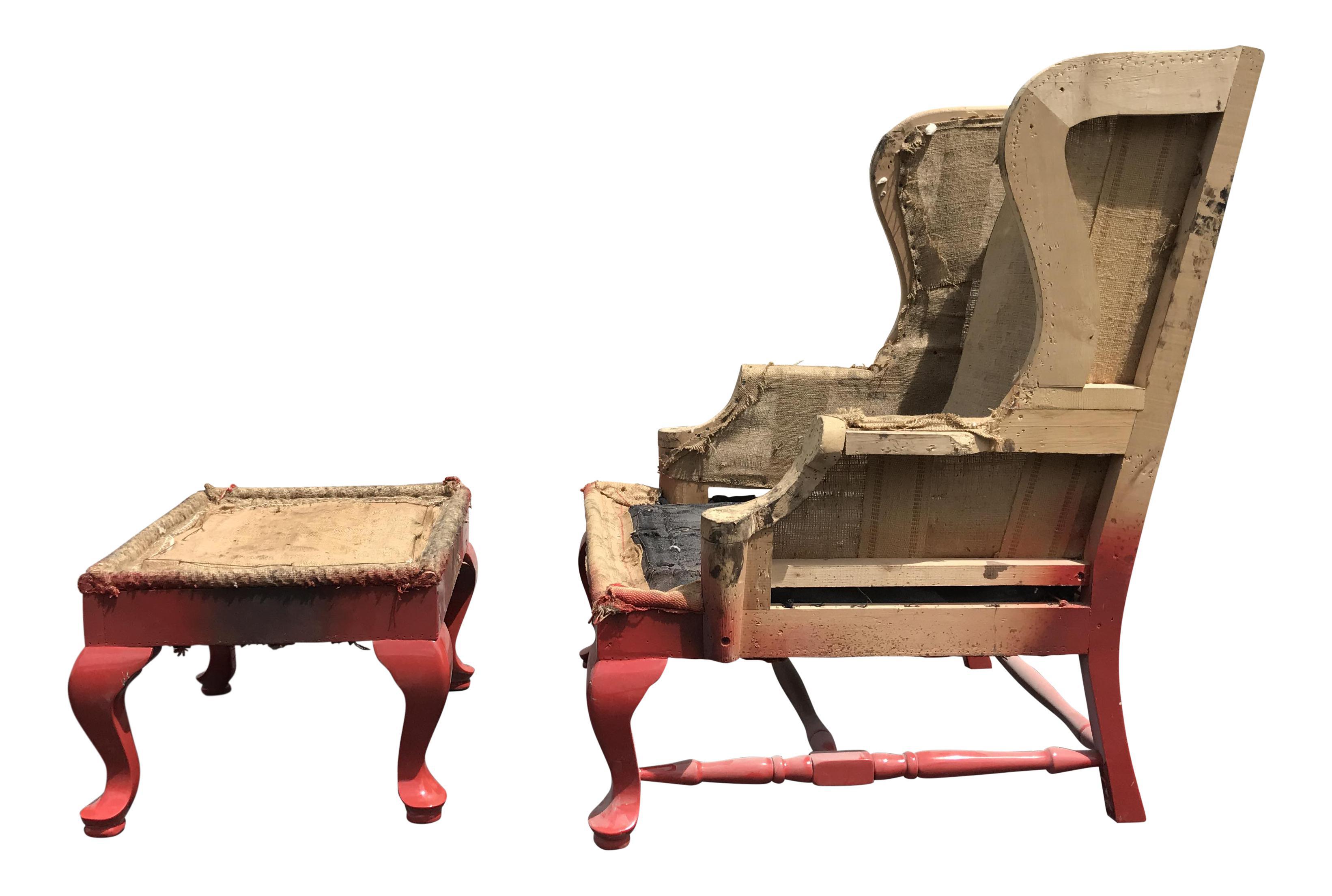 19th c walnut wingback armchair u0026 ottoman frame a pair