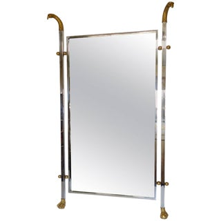 Maison Jansen Chrome and Brass Mirror