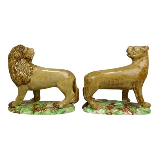 18th Century Pottery Figures of Lion & Lioness