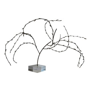 Jere Style Brutalist Brass & Lucite Tree Table Sculpture