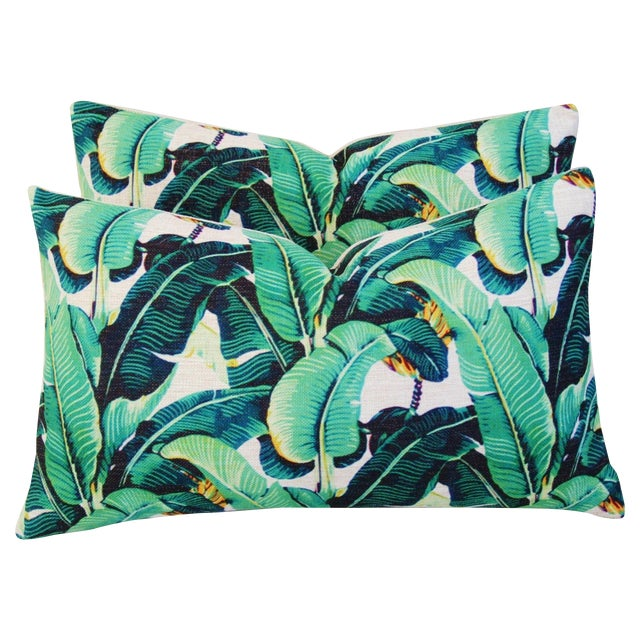 Dorothy Draper-Style Banana Leaf Pillows - A Pair - Image 1 of 11