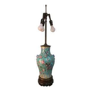 Very Tall Chinese Famille Verte Vase Lamp
