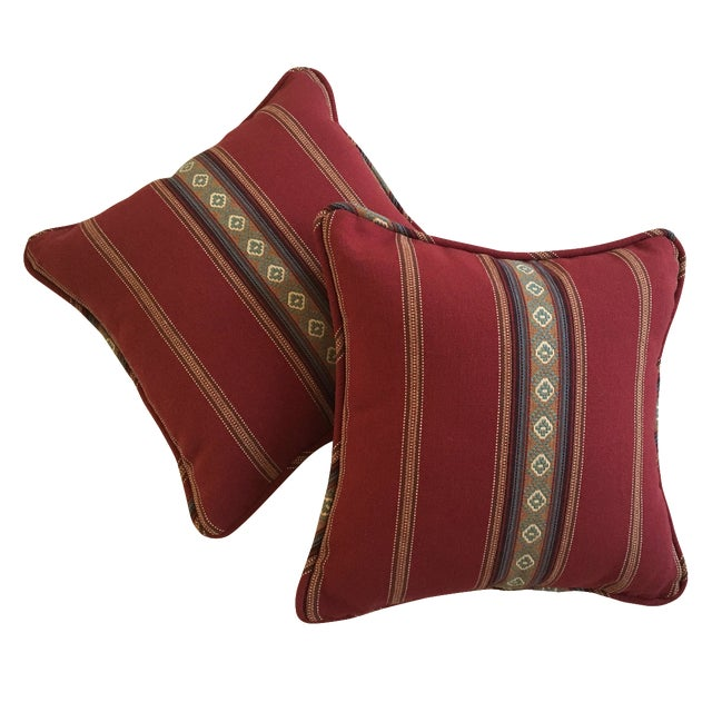 Red Southwestern Stripe Pillows - A Pair - Image 1 of 9