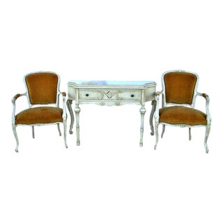 French Console Table & Bergere Chairs - Set of 3