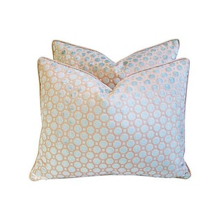 Aqua Blue Velvet Geometric Pillows - Pair