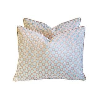 Aqua Blue Velvet Geometric Pillows - Pair