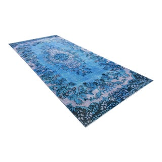 Vintage Distressed Turkish Royal Blue Overdyed Rug - 4′1″ × 9′4″