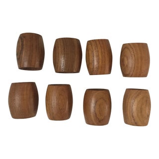 Vintage Wood Napkin Rings - Set Of 8
