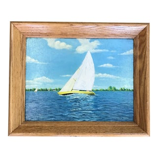 Vintage Nautical Sailboat Painting