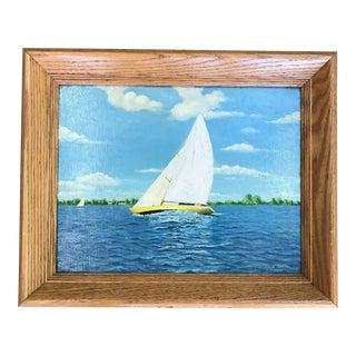 Vintage Nautical Sailboat Painting